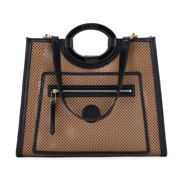 Fendi Runaway Medium Perforated Leather Tote Bag in tan
