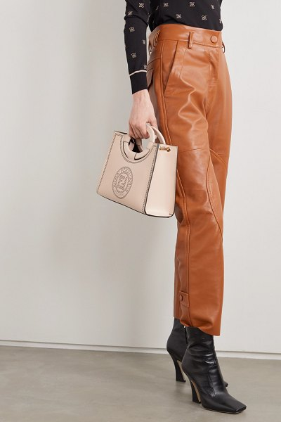 Fendi runaway small perforated leather tote in neutral