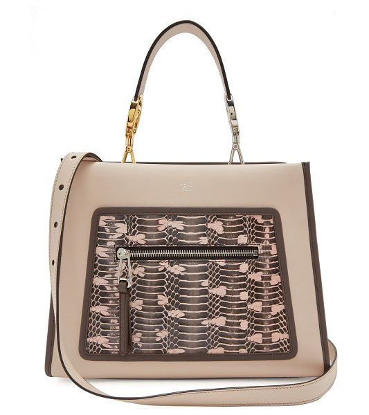 Fendi runaway watersnake and leather bag in light pink