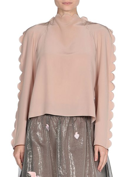 Fendi Scalloped Silk Tie-Back Top in pink - Fendi crêpe de chine top with scalloped edges. High...