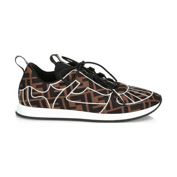 Fendi seamed logo printed sneakers in neutral - Athletic knit logo sneakers with modern seaming....