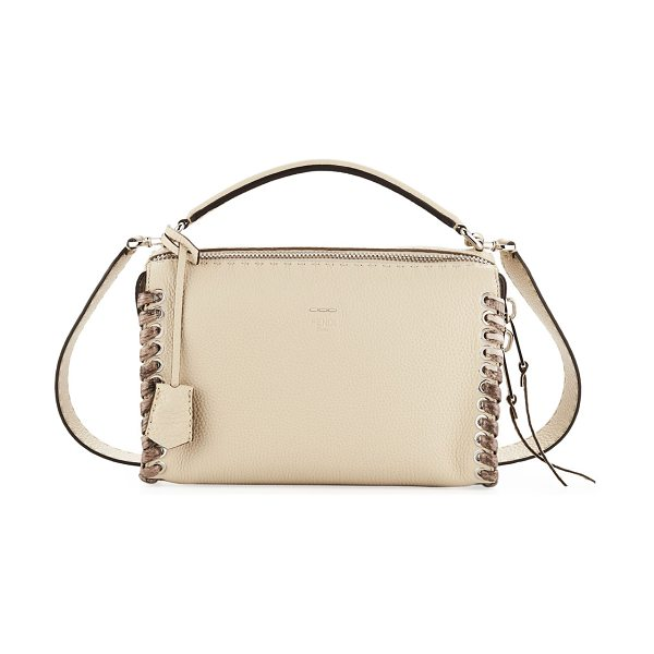 "Fendi Selleria Lei Medium Calf and Snakeskin Top-Handle Bag in taupe - Fendi Collection ""Lei"" Boston-style bag in calf leather..."