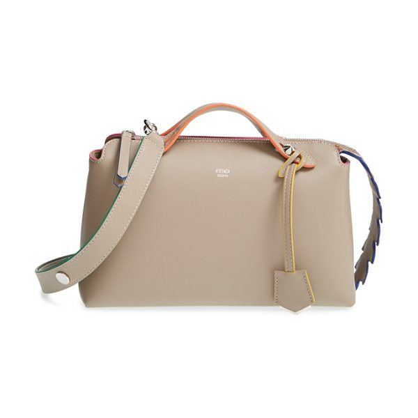 Fendi 'small by the way in dove/ orange/ pink - A gradient-hued crocodile-leather zip placket adds...