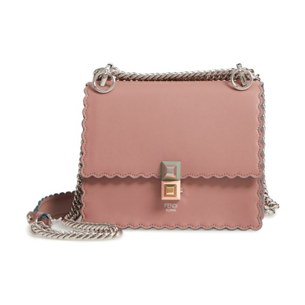 FENDI small kan i scallop leather shoulder bag - Pyramid studs secure the pretty scalloped flap of this...