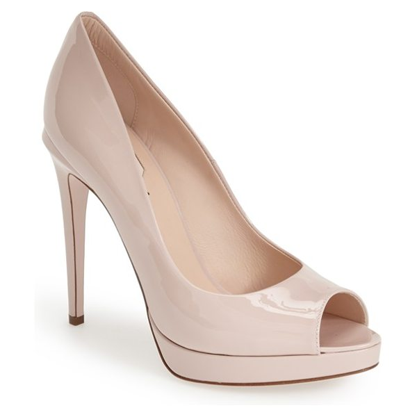 Fendi 'sophie' peep toe pump in nude patent - Liquid-shine patent leather defines the shapely curves...