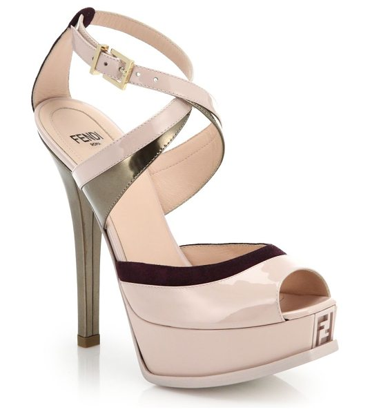 Fendi Sta metallic-trim patent leather sandals in blush-multi - Shots of metallic and peeks of suede punctuate these...