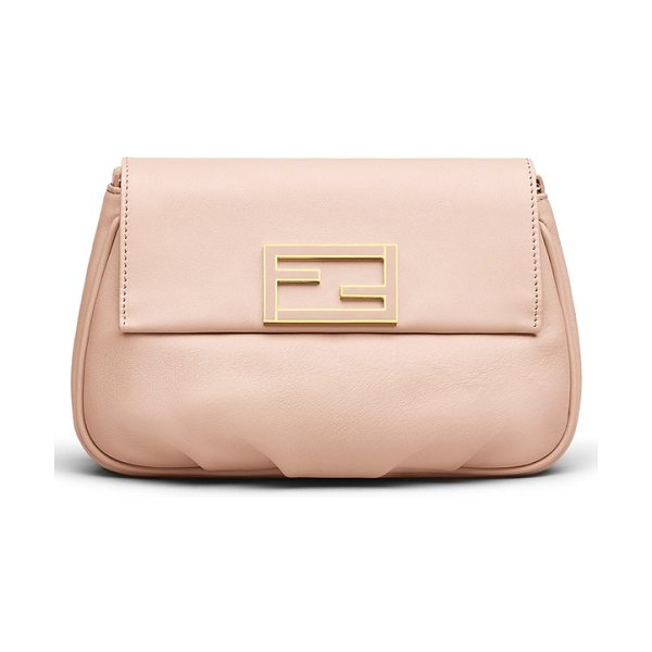 Fendi Sta pouchette crossbody bag in pink plaster - Enameled Fendi hardware details the flap of a softly...