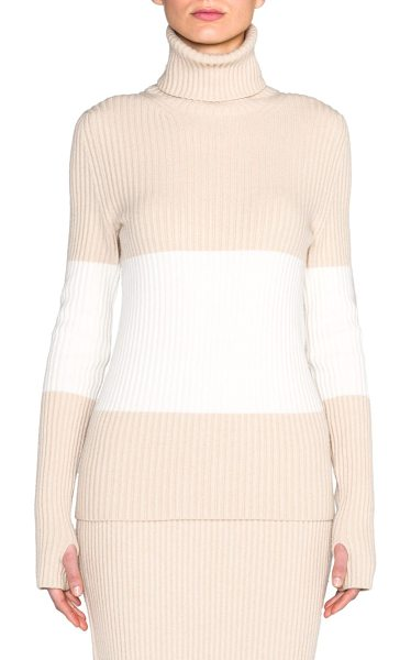Fendi Stretch cashmere turtleneck sweater in beige-white - This softly-hued two-tone sweater, of luxurious cashmere...