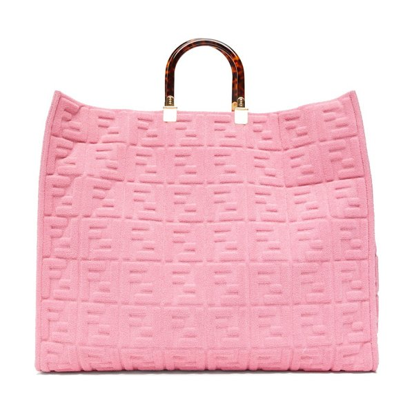 Fendi sunshine ff-embossed cotton-towelling tote bag in pink