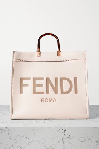 Fendi sunshine shopper large embossed leather tote in neutrals