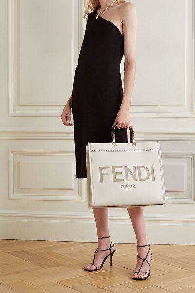 Fendi sunshine shopper logo-embossed leather tote in cream
