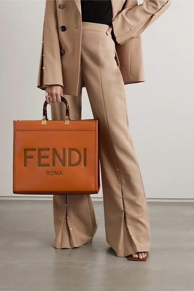 Fendi sunshine shopper debossed leather tote in brown
