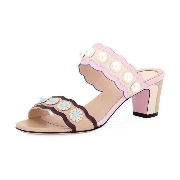 Fendi Two-Band Leather Slide Sandal in beige - Fendi colorblock leather sandal with pearlescent and ABS...