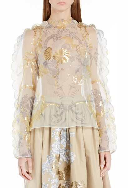 Fendi versailles print silk organza top in gold - Beautifully drawing from old-world romanticism, this...