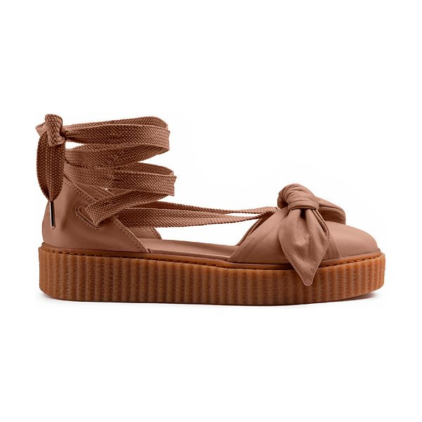 FENTY PUMA by Rihanna Bow Leather Creeper Sandals in natural & oatmeal - Leather upper with rubber sole. Made in Romania. Approx...