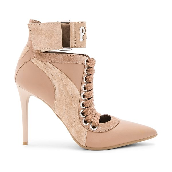 FENTY PUMA by Rihanna Lace Up Heel in tan - Leather and suede upper with man made sole. Lace-up...