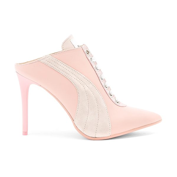 "FENTY PUMA by Rihanna Lace Up Mule in pink - ""Leather upper with man made sole. Lace-up front. Heel..."
