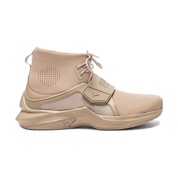FENTY PUMA by Rihanna Leather Trainer Sneakers in neutrals - Leather upper with rubber sole.  Made in Vietnam. ...