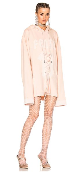 FENTY PUMA by Rihanna Long Sleeve Graphic Lacing Hoodie in cameo rose - Self: 78% cotton 17% poly 5% elastanHood Lining: 100%...