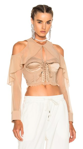 FENTY PUMA by Rihanna Mesh Bustier with Sleeves in neutrals - Self: 100% poly - Contrast Fabric 1: 96% poly 4%...