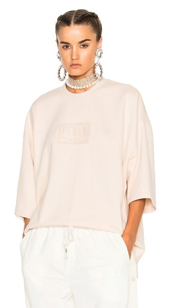FENTY PUMA by Rihanna Oversized Crewneck Tee in pink tint - Self: 91% cotton 9% nylonContrast Fabric: 96% cotton 4%...