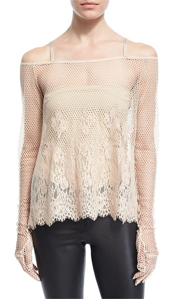 FENTY PUMA by Rihanna B-Ball Mesh Lace Long-Sleeve Top in beige - Fenty Puma by Rihanna top in basketball mesh with lace...
