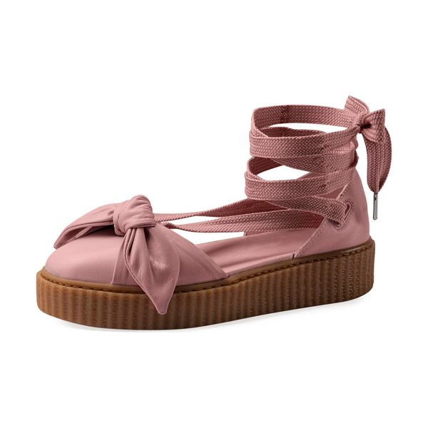 "FENTY PUMA BY RIHANNA Bow Leather Creeper Sandals - Fenty Puma by Rihanna leather sandal. 0.3"" ridged flat..."