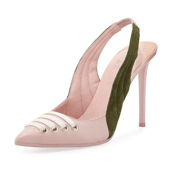 "FENTY PUMA by Rihanna Lace-Up Leather Slingback Pump in pink - Fenty Puma by Rihanna leather pump. 4.5"" covered..."