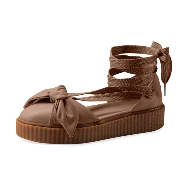 FENTY PUMA by Rihanna Leather Bow Creeper Sandals in natural/oatmeal