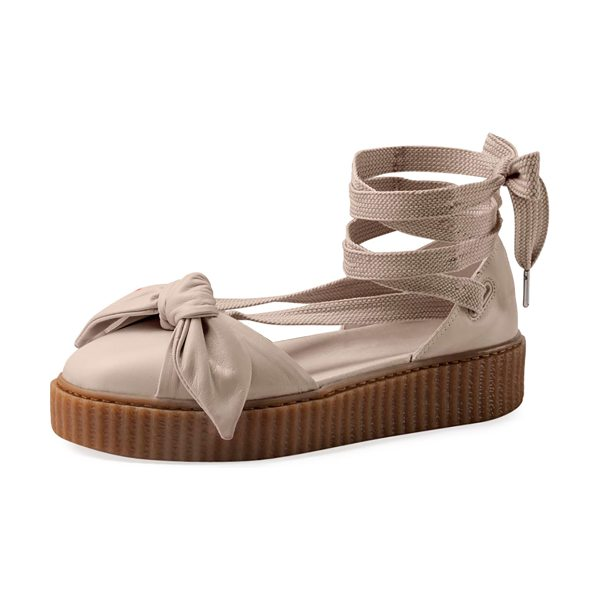 "FENTY PUMA BY RIHANNA Leather Bow Creeper Sandal - Fenty Puma by Rihanna leather creeper sandal. 0.3""..."