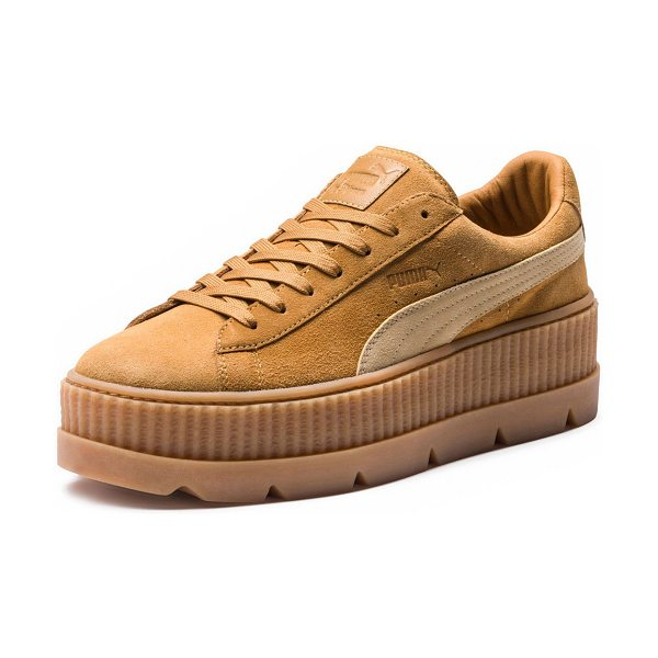 FENTY PUMA by Rihanna Low-Top Suede Creeper Sneaker in tan - FENTY PUMA by Rihanna suede sneaker. Ridged platform...