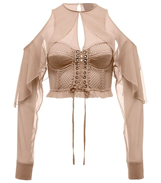 FENTY PUMA by Rihanna Mesh Bustier Top w/Chiffon Sleeves in beige - Fenty Puma by Rihanna mesh bustier top with chiffon...