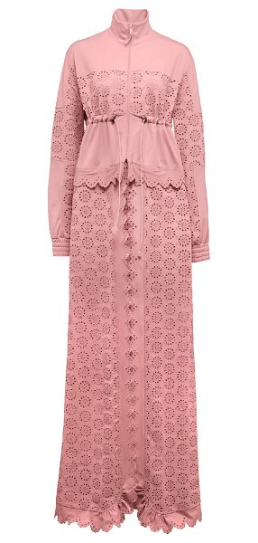FENTY PUMA by Rihanna Tricot Zip-Off Maxi Coat in pink - Fenty Puma by Rihanna tricot eyelet coat. Stand collar;...