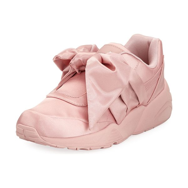 FENTY PUMA by Rihanna Trinomic Knotted Bow Satin Sneaker in silver pink