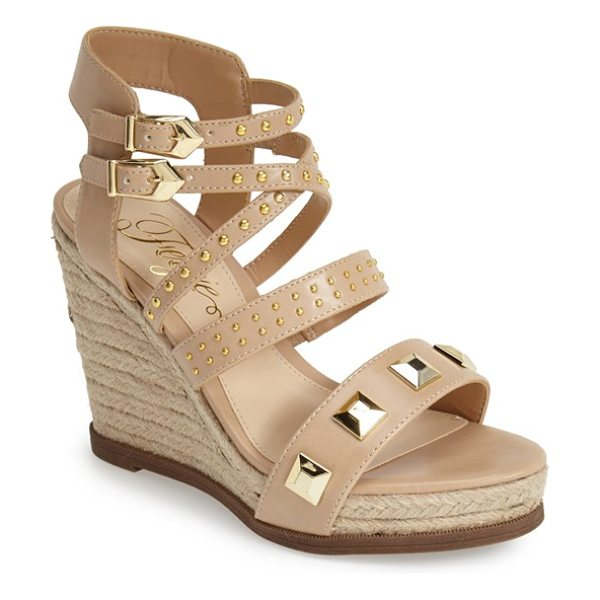 Fergie averie espadrille wedge sandal in nude - Bold pyramid studs and gilt accents amp up the...