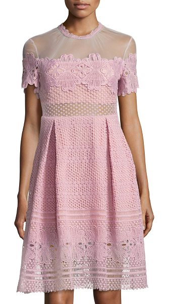 "FEW MODA Ramona Mesh-Yoke Crochet Dress - Few Moda ""Ramona"" crochet-lace dress with contrast..."