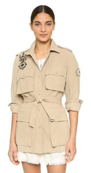 Figue Hunter jacket in khaki - This crisp Figue coat is detailed with crystal...