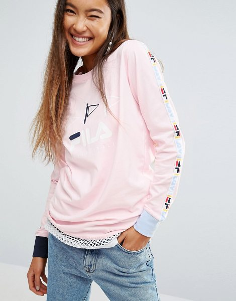 FILA Oversized Long Sleeve Skate Top With Logo Tape - Top by Fila, Soft-touch jersey, Crew neck, Long sleeves,...
