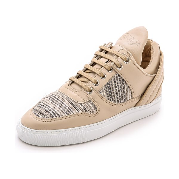 Filling Pieces Crosta low top transformed sneakers in beige - Woven suede panels accent the low top silhouette of...