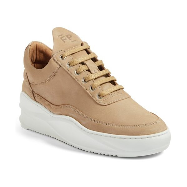 FILLING PIECES sky low top sneaker in beige - Buttery-soft nubuck leather meets a pristine white sole...