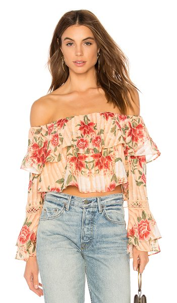 FINDERS KEEPERS Arcadia Off Shoulder Top - Self & Lining: 100% poly. Hand wash cold. Elasticized...