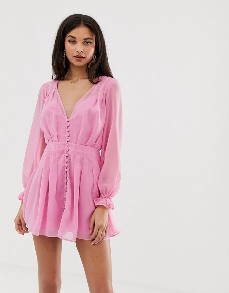 Finders Keepers bella button down mini dress in pink