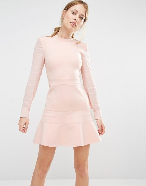 FINDERS KEEPERS Long Sleeve Flippy Dress in pink - Dress by Finders Keepers, Structured fabric, Round...