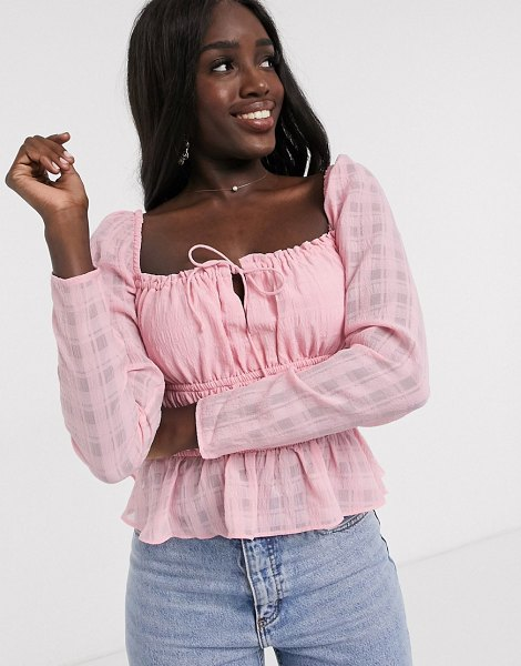 Finders Keepers lucietti shirred top in blush-pink in pink