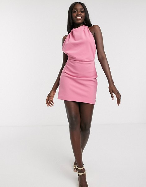 Finders Keepers mae backless halterneck mini dress in pink in pink