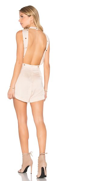 "Finders Keepers Maynard Romper in blush - ""100% poly. Hand wash cold. Partial front button..."