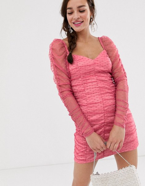 Finders Keepers palermo long sleeve ruched mini dress in spot mesh-pink in pink