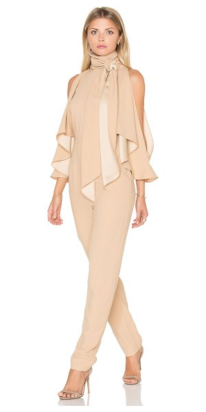 Finders Keepers Real Slow Jumpsuit in beige - 100% poly. Hand wash cold. Open shoulders. Back cut-out...