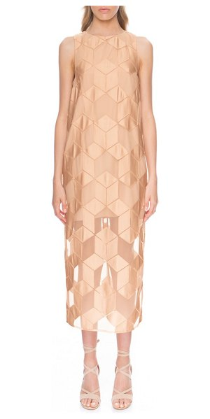 Finders Keepers insomnia patchwork midi dress in nude cube - Lustrous appliqued patches form floating cubes atop the...
