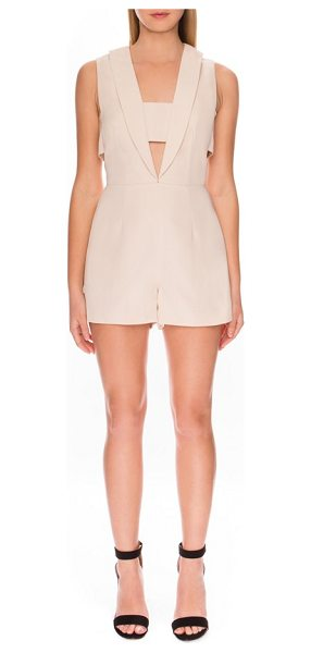 Finders Keepers 'the logic' romper in cream - This streamlined, shawl-collar romper is fronted with a...